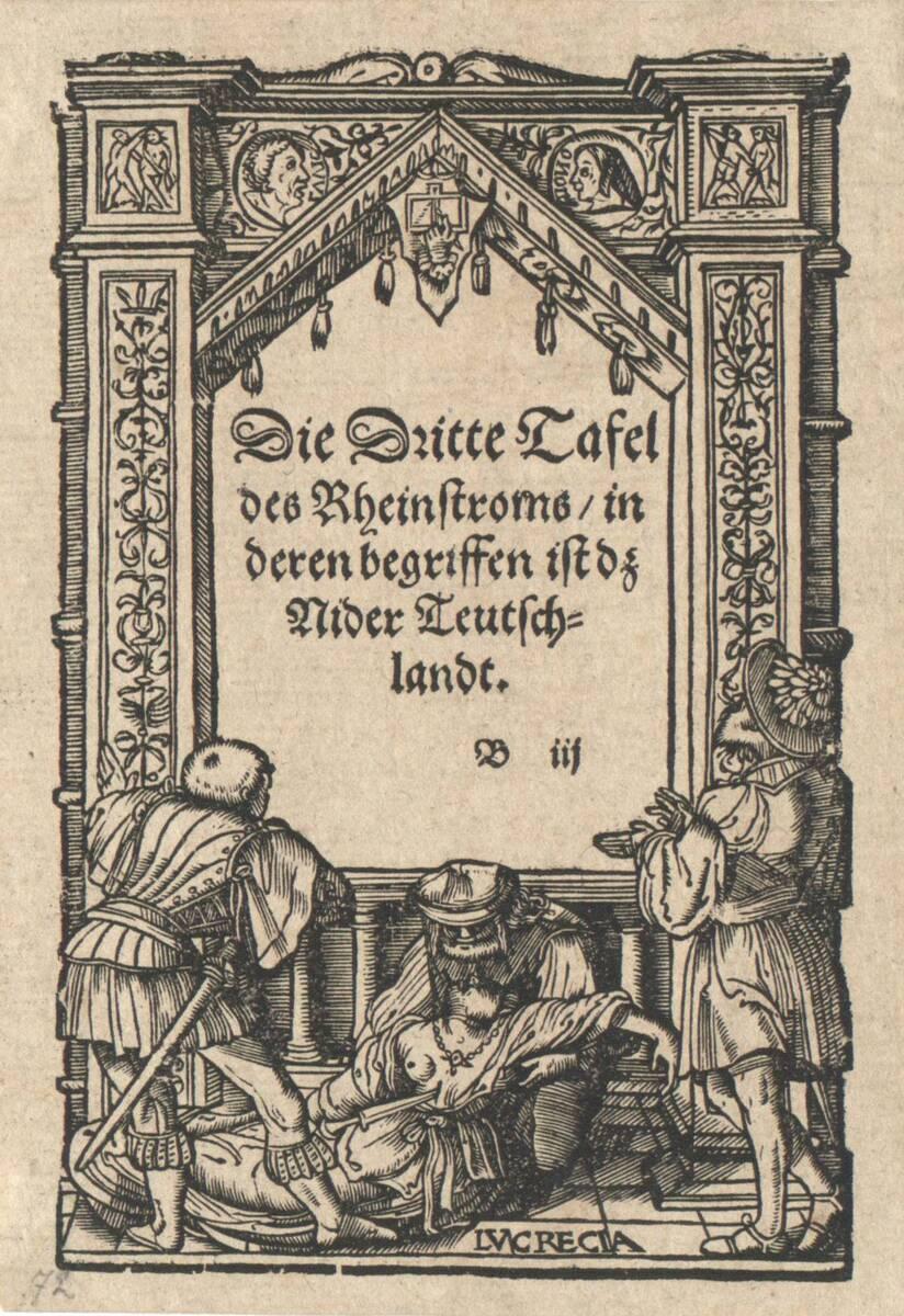Titeleinfassung mit dem Tod der Lucretia von Holbein, Hans