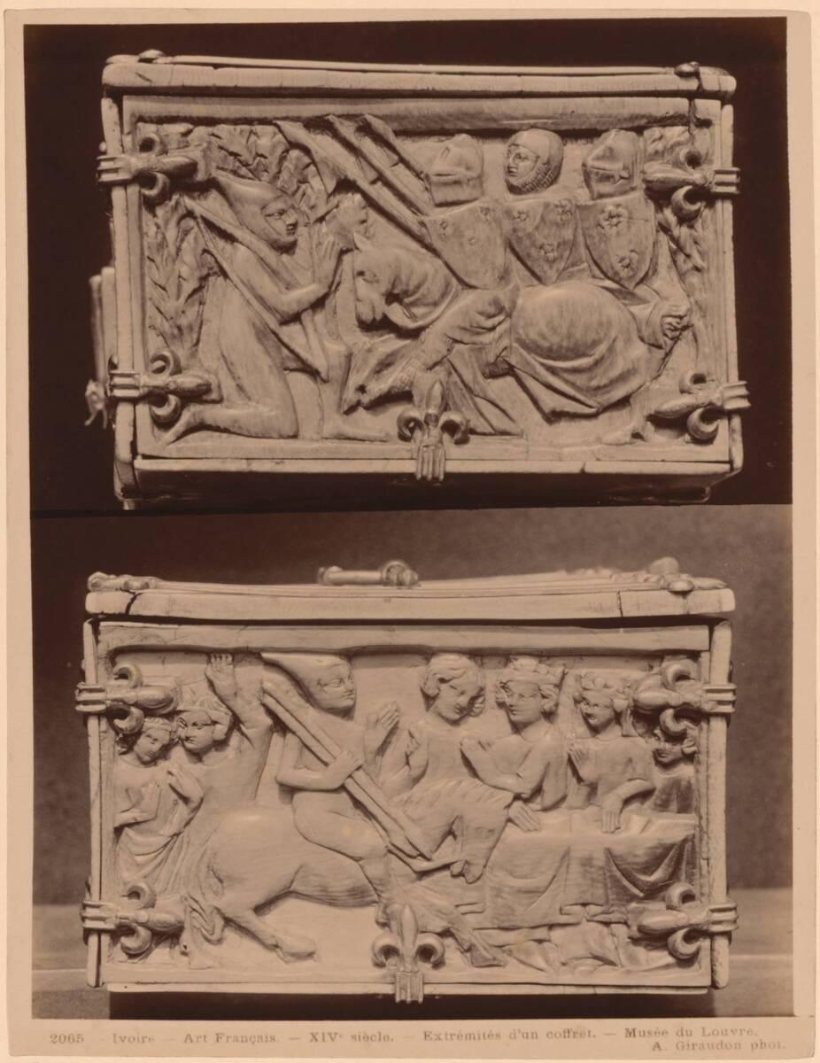 Fotografie der Schmalseiten einer französischen Elfenbeinkassette des 14. Jahrhunderts (vom Bearbeiter vergebener Titel) von Giraudon, Adolphe