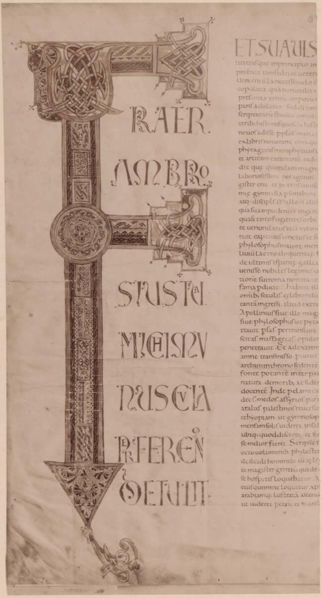 Fotografie eines Blattes aus einer italienischen Bibel des 11. Jh., aus der Österreichischen Nationalbibliothek (cod. 1167) (vom Bearbeiter vergebener Titel) von Gmeiner, Wilhelm
