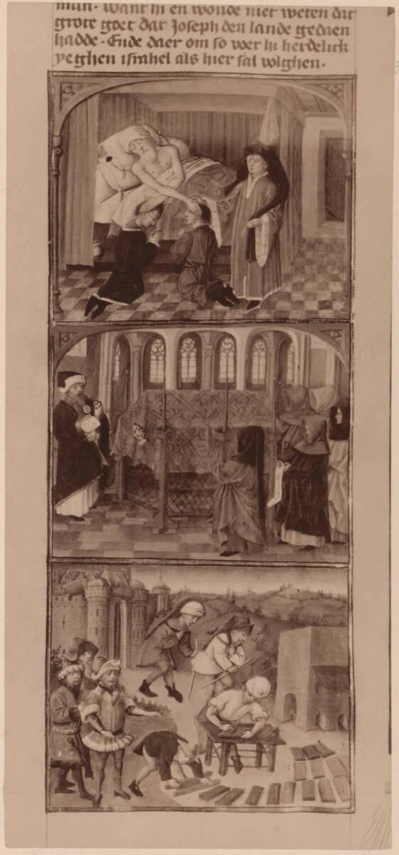 Fotografie einer Buchmalerei aus einer niederländischen Bibel, aus der ersten Hälfte des 15. Jh., in der Österreichischen Nationalbibliothek (cod. 2772) von Gmeiner, Wilhelm