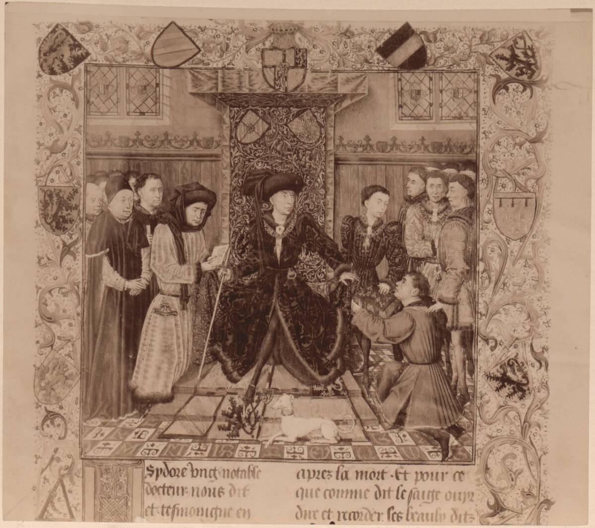 """Fotografie eines Details einer Buchmalerei aus dem Roman """"Taten des Girart de Roussillon"""", vom Meister des Girart de Roussillon um 1447, in der Österreichischen Nationalbibliothek (cod. 2549) von Gmeiner, Wilhelm"""