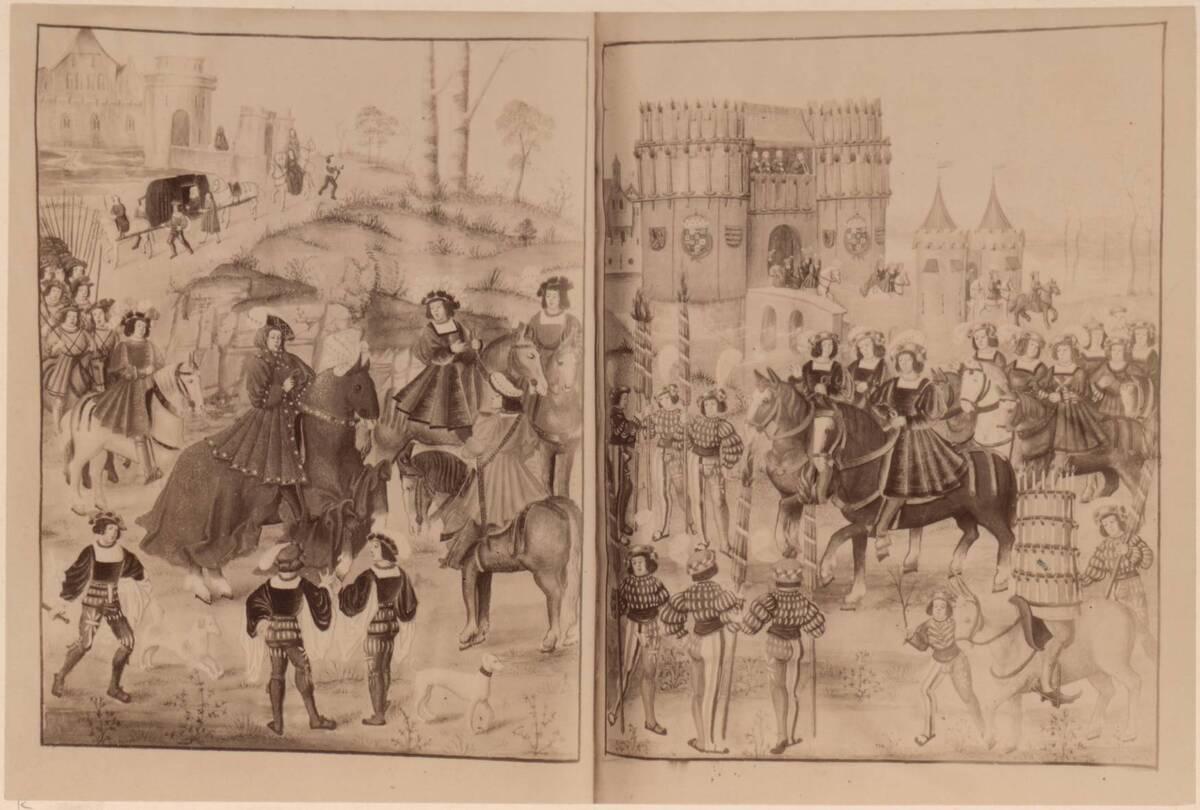 """Fotografie der Buchmalerei """"Entrée de Charles à Bruges"""", vom Anfang des 16. Jh., in der Österreichischen Nationalbibliothek (cod. 2591) von Gmeiner, Wilhelm"""