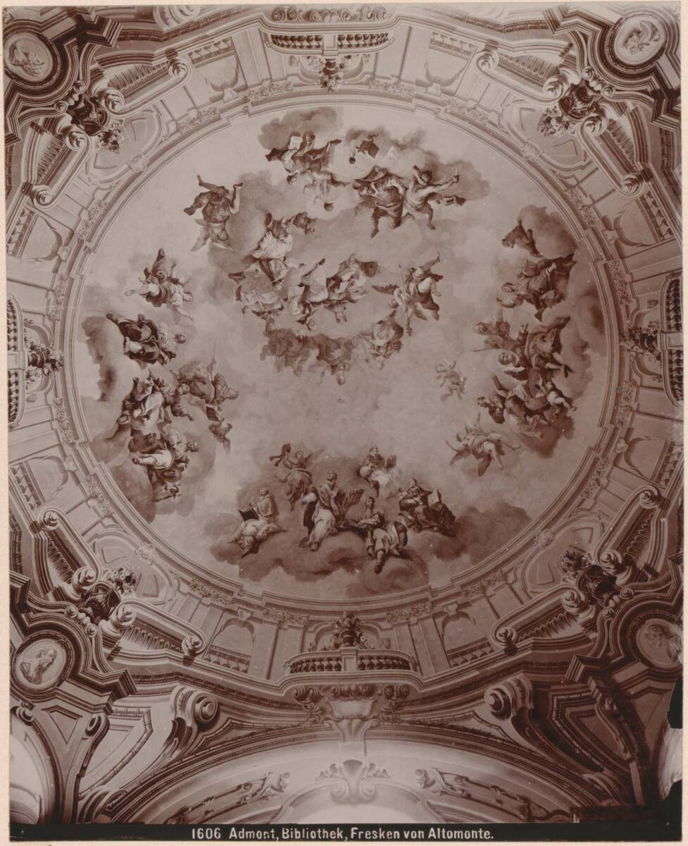Fotografie eines Deckenfresko in der Bibliothek des Stiftes Admont, von Martino Altomonte (vom Bearbeiter vergebener Titel) von Altomonte, Martino