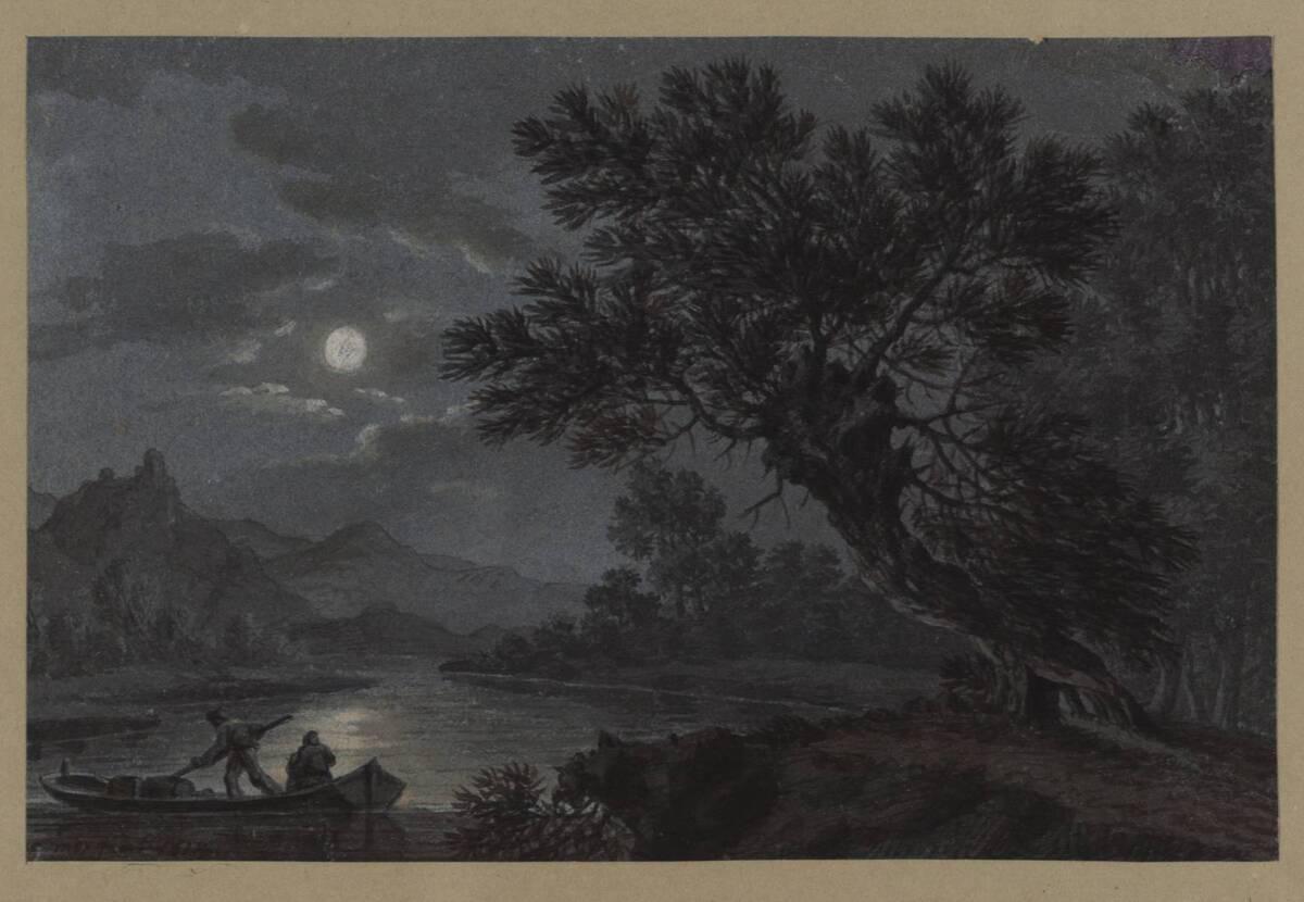Landschaft mit Fähre im Mondschein von Saar, Alois von