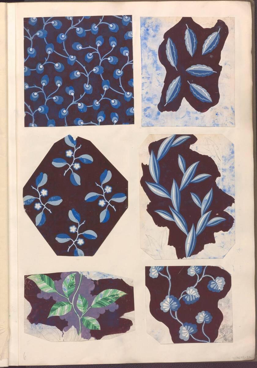 Buchseite mit 6 Ornamententwürfen aus einem Sammelband mit Originalzeichnungen für Stoff- und Tapetenmuster von Anonym