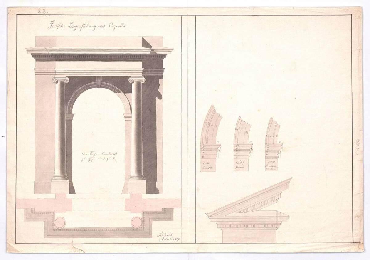 Aufriß und Grundriß der Ionischen Bogenstellung nach Vignola (vom Bearbeiter vergebener Titel) von Paulick, Friedrich