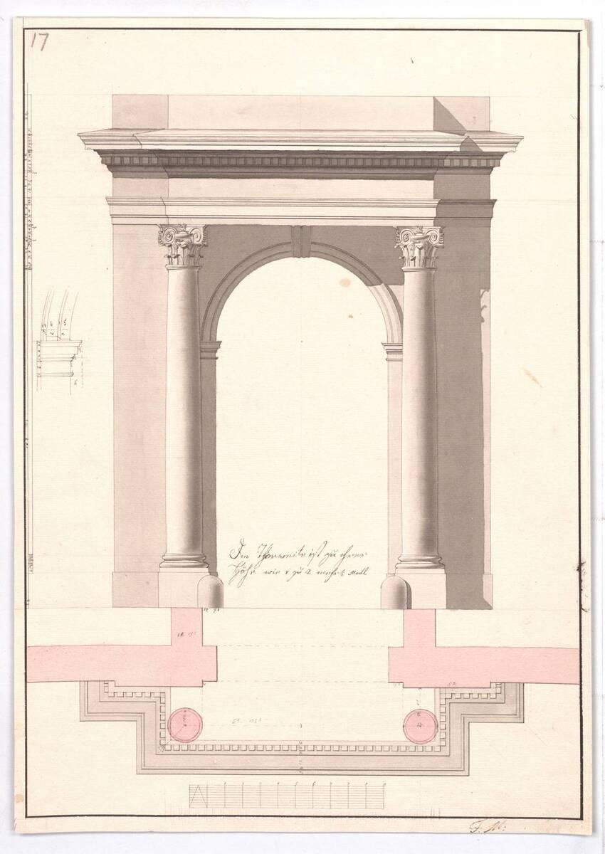 Aufriß und Grundriß der Römisch-Korinthischen Bogenstellung nach Vignola (vom Bearbeiter vergebener Titel) von Marini, Franz