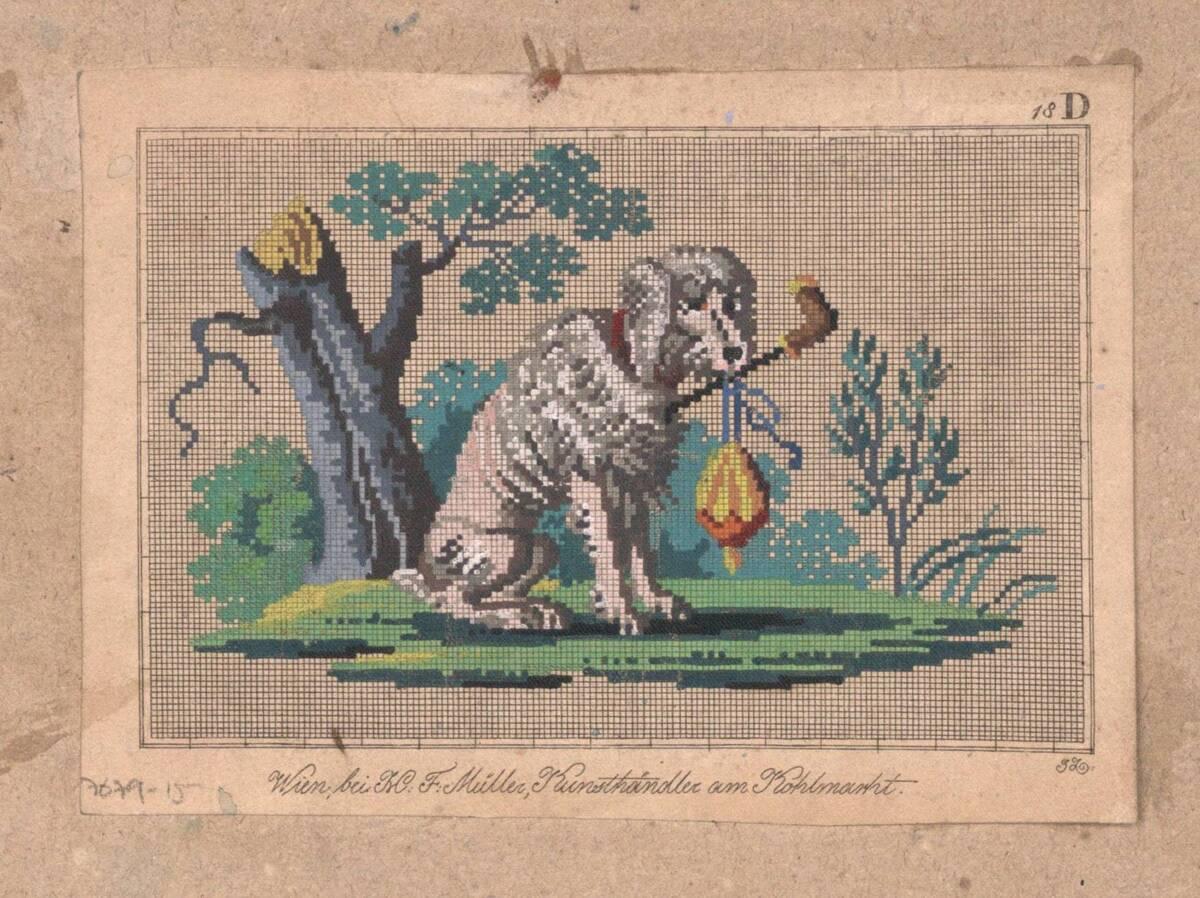 Stickmusterentwurf mit sitzendem Hund (vom Bearbeiter vergebener Titel) von Anonym