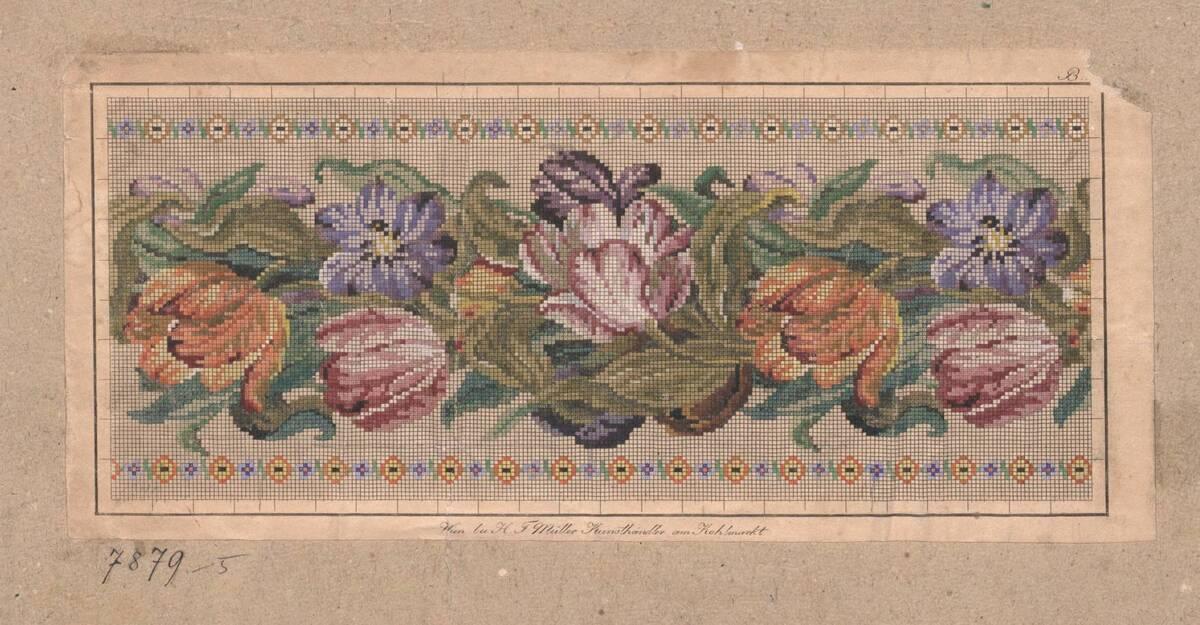 Stickmusterentwurf mit Blumendekor (vom Bearbeiter vergebener Titel) von Anonym