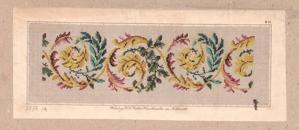 Stickmusterentwurf mit Ornamentik (vom Bearbeiter vergebener Titel) von Anonym