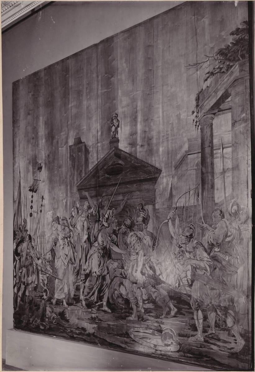 Fotografie der Marketerietafel: Die römischen Frauen ringen mit den Sabinern um den Frieden (vom Bearbeiter vergebener Titel) von Wlha, Josef