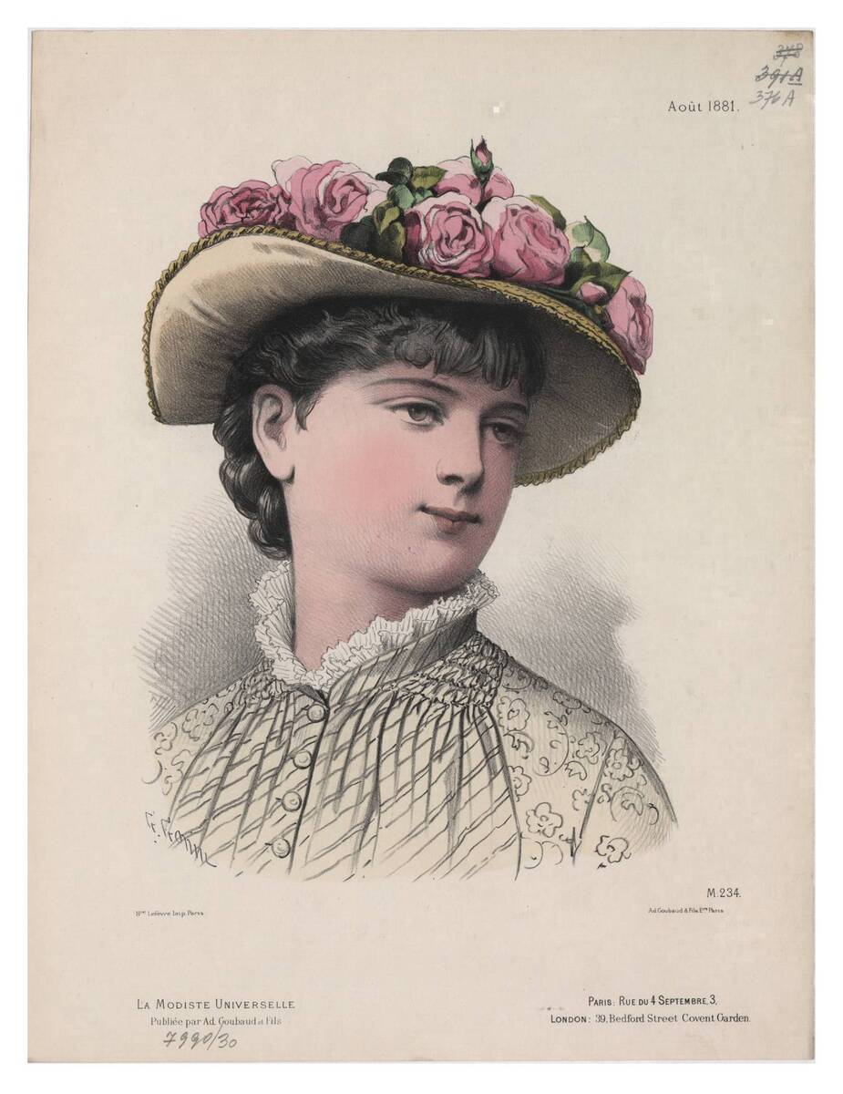 Pariser Modebild aus 'La Modiste Universelle' ein Frauenkopf im Halbprofil mit einem gelben Hut mit Rosen (vom Bearbeiter vergebener Titel) von Gonin, Guido