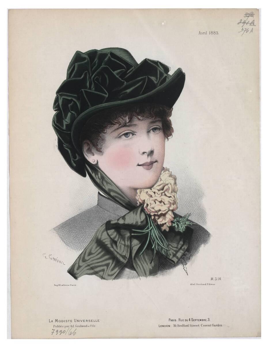 Pariser Modebild aus 'La Modiste Universelle' ein Frauenkopf im Halbprofil mit einem Hut mit dunkelgrünem Samt (vom Bearbeiter vergebener Titel) von Gonin, Guido