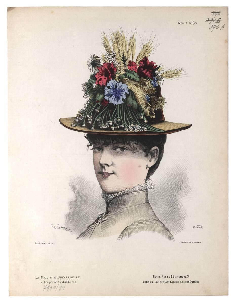 Pariser Modebild aus 'La Modiste Universelle' ein Frauenkopf im Halbprofil mit einem Blumenhut von Gonin, Guido