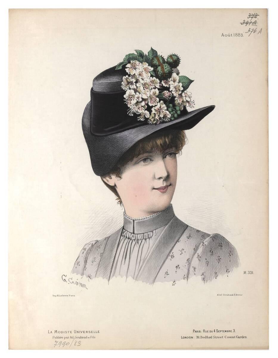 Pariser Modebild aus 'La Modiste Universelle' ein Frauenkopf im Halbprofil mit einem Strohhut mit Blumen (vom Bearbeiter vergebener Titel) von Gonin, Guido