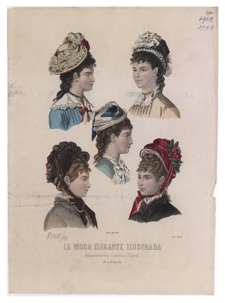 Modebild aus 'La Moda Elegante Ilustrada' fünf Frauenköpfe mit verschiedenen Hüten (vom Bearbeiter vergebener Titel)