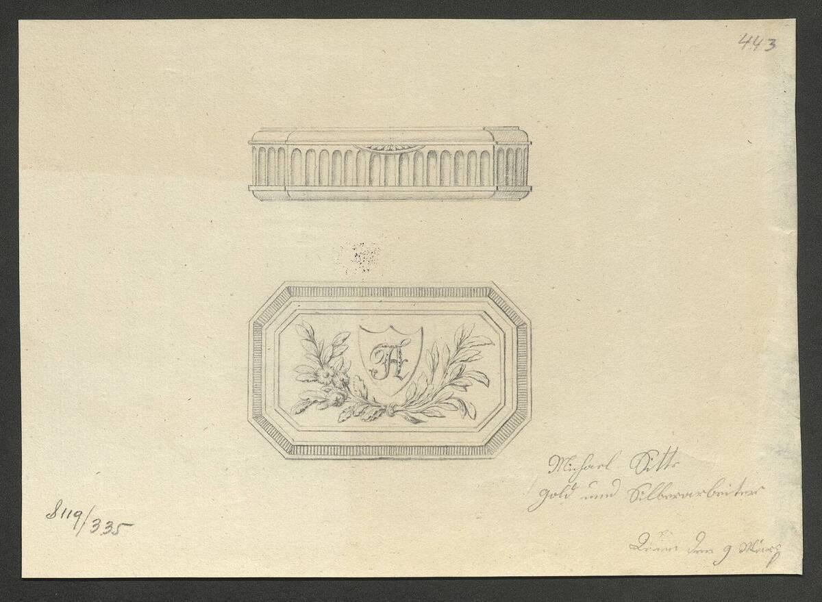 """Entwurfszeichnung der Seite und des Deckels von einer Dose mit der Initiale """"A"""" von Michael Sitte (vom Bearbeiter vergebener Titel)"""