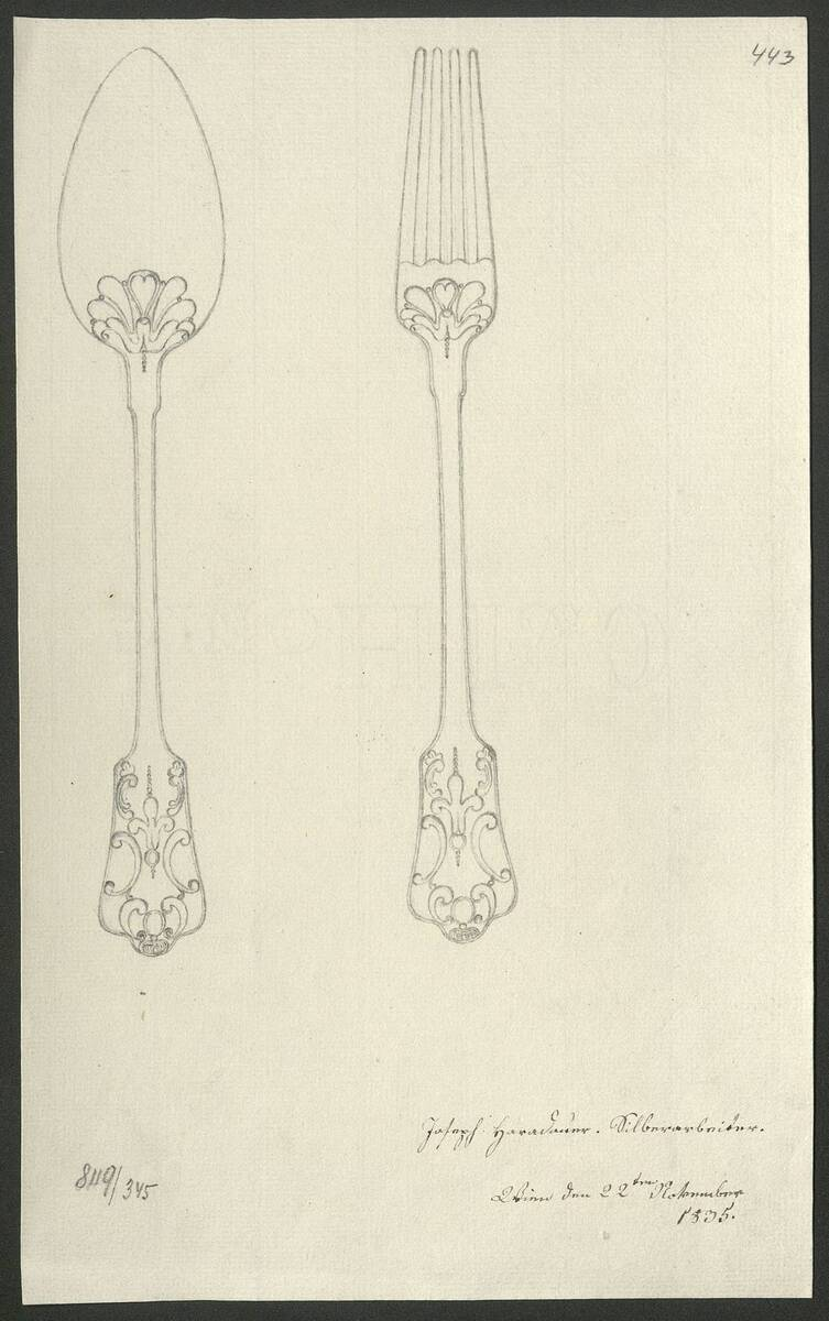Entwurfszeichnung von einem Silberlöffel und einer Silbergabel von Joseph Harathauer (vom Bearbeiter vergebener Titel) von Harathauer, Joseph