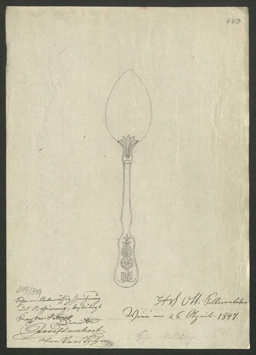 Entwurfszeichnung von einem verzierten Silberlöffel von Josef Ott (vom Bearbeiter vergebener Titel) von Ott, Josef
