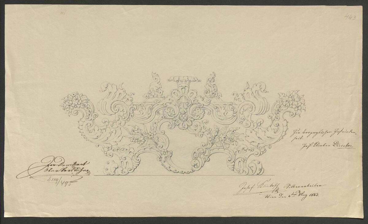 Entwurfszeichnung von einem reich verzierten Kerzenleuchter von Josef Karl Klinkosch (vom Bearbeiter vergebener Titel) von Klinkosch, Joseph Karl