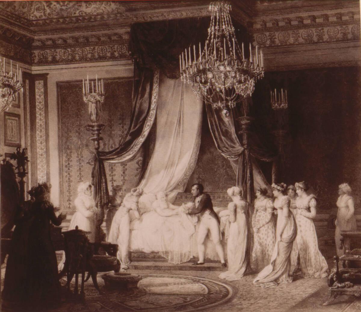 """Fotografie des Gemäldes """"Die Taufe des Königs von Rom"""" von Jean-Baptiste Isabey (vom Bearbeiter vergebener Titel) von Anonym"""