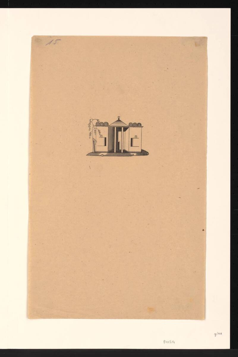 Druck eines Phantasiegebäudes von Dagobert Peche (deskriptiver Titel) von Peche, Dagobert