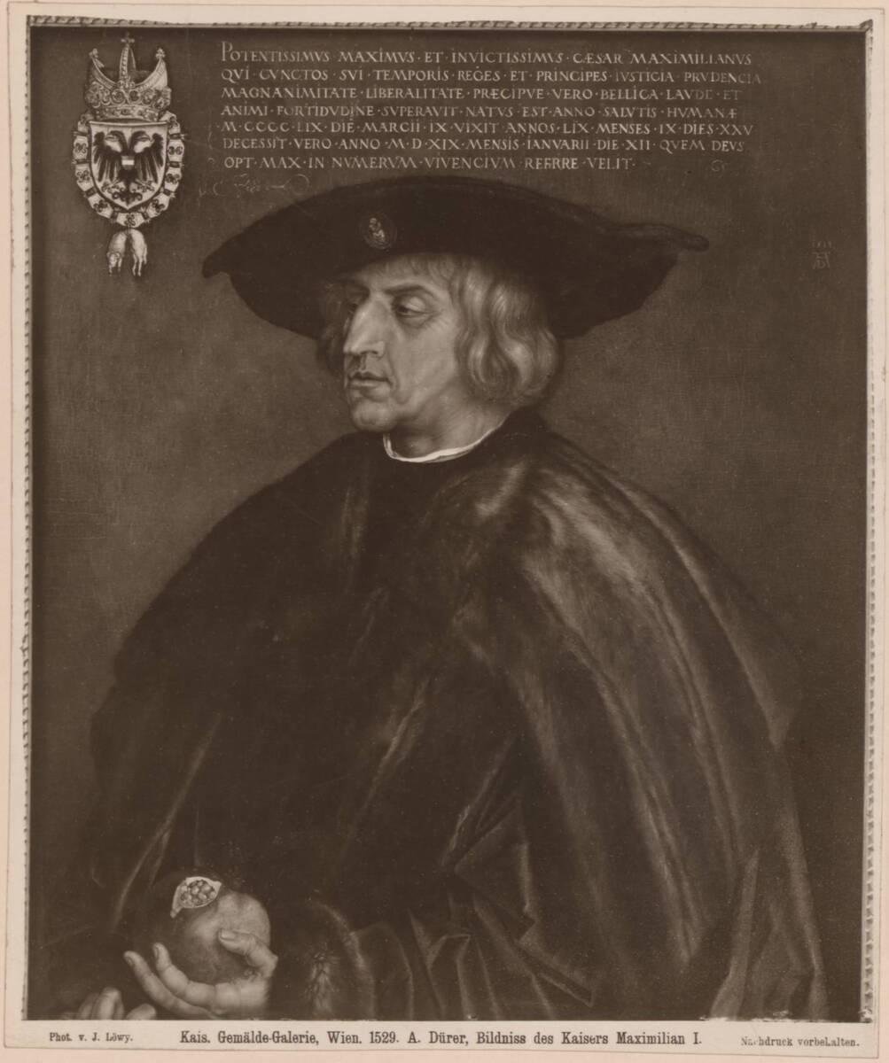 Fotografie einer Porträtmalerei des Kaisers Maximilian l. (HRR), von Albrecht Dürer, von 1519, im Kunsthistorischen Museum in Wien (vom Bearbeiter vergebener Titel) von Löwy, Josef