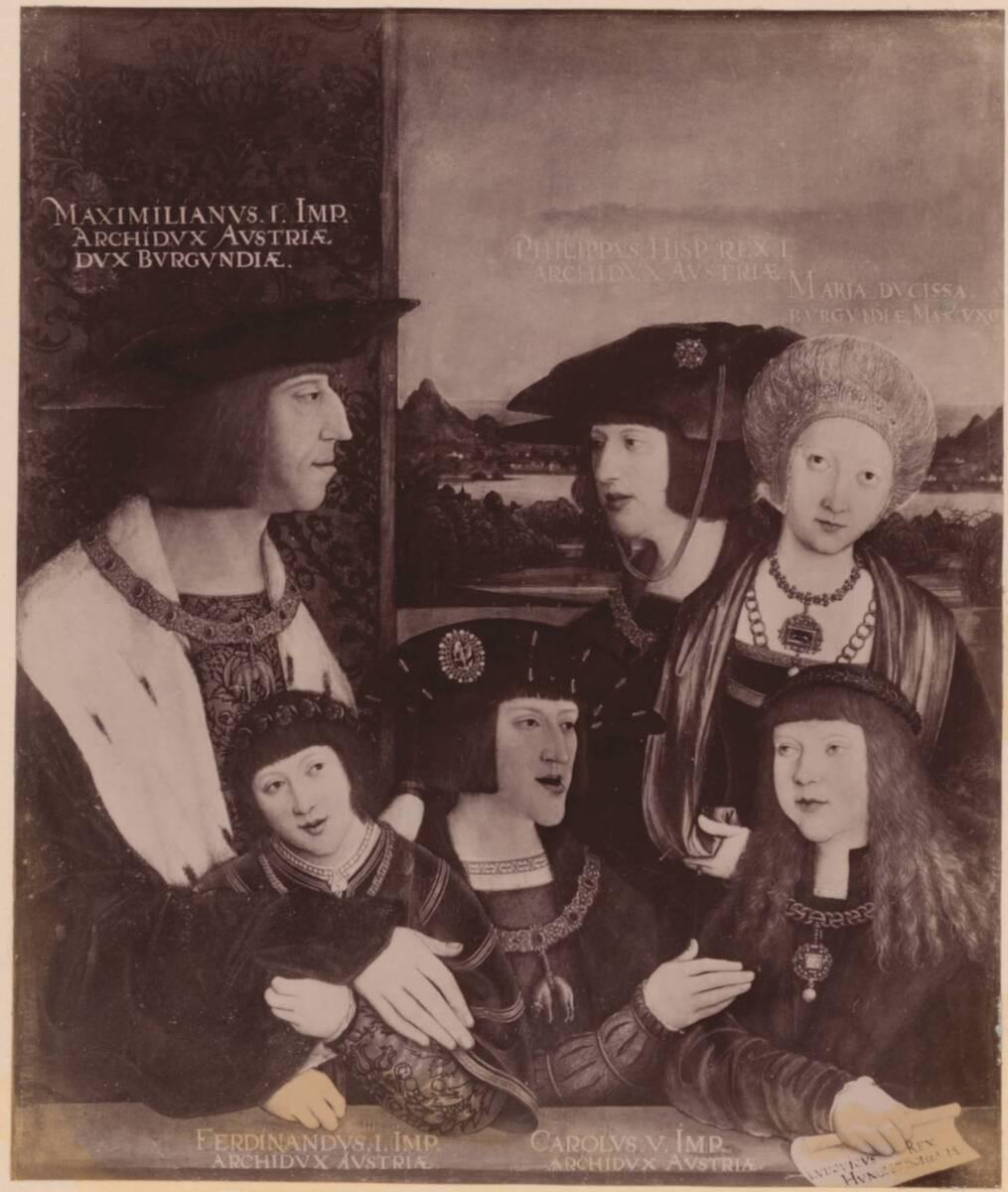 Fotografie der Porträtmalerei des Kaisers Maximilian I. und seiner Familie, von Bernhard Strigel, im Kunsthistorischen Museum in Wien (vom Bearbeiter vergebener Titel) von Anonym