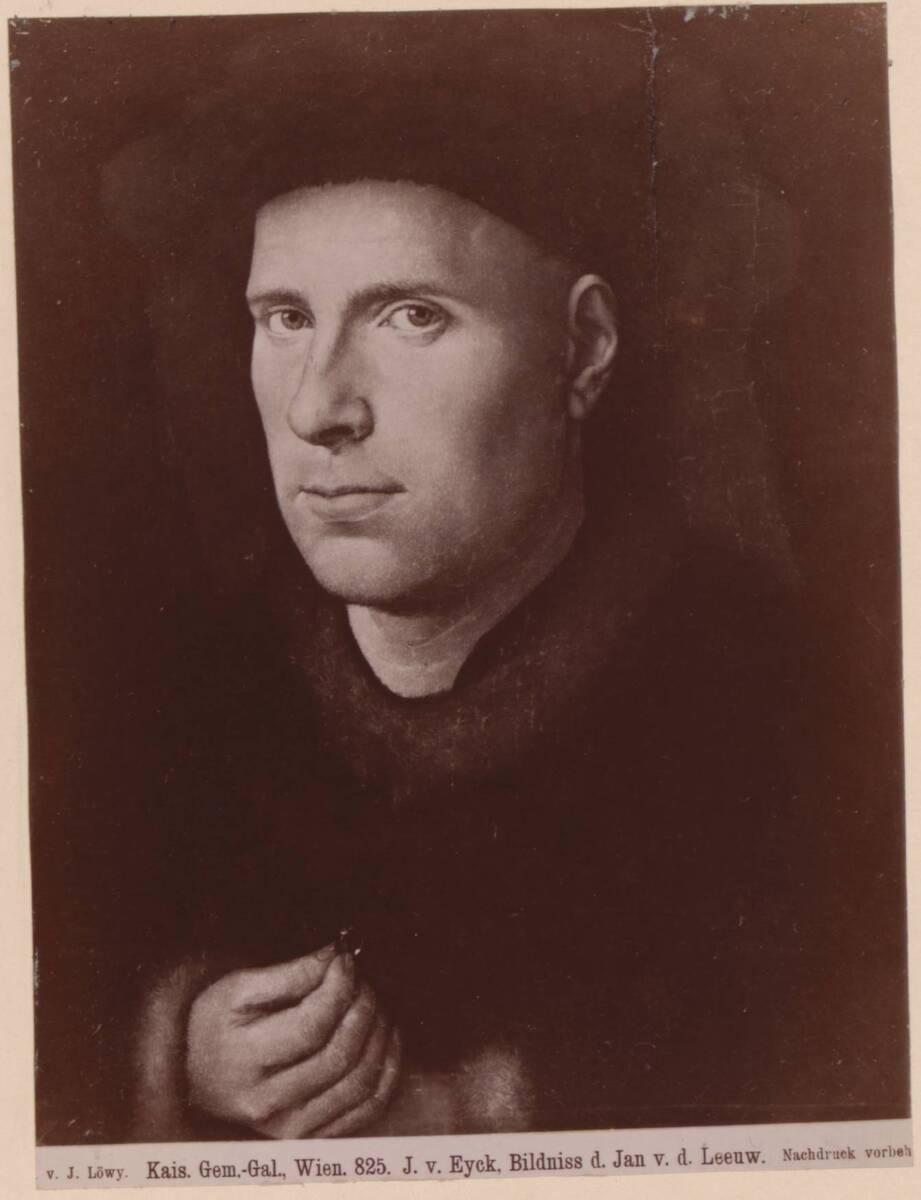 Fotografie des Porträts von Jan de Leeuw von Jan van Eyck im Kunsthistorischen Museum in Wien (vom Bearbeiter vergebener Titel) von Löwy, Josef