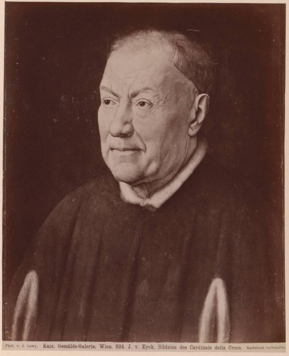 Fotografie des Porträts von Niccolò Albergati von Jan van Eyck im Kunsthistorischen Museum in Wien (vom Bearbeiter vergebener Titel) von Löwy, Josef