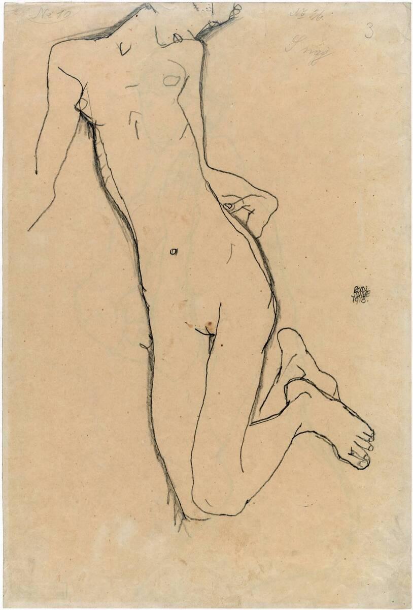 Weiblicher Akt (verso) (vom Bearbeiter vergebener Titel) von Schiele, Egon