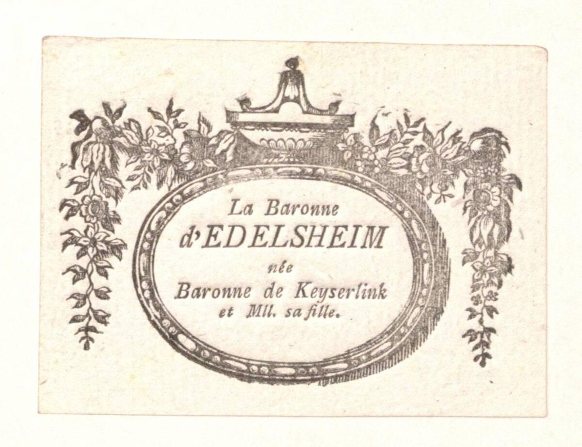 [Visitenkarte der Baronin von Edelsheim und ihrer Tochter] von von Edelsheim, Baronin