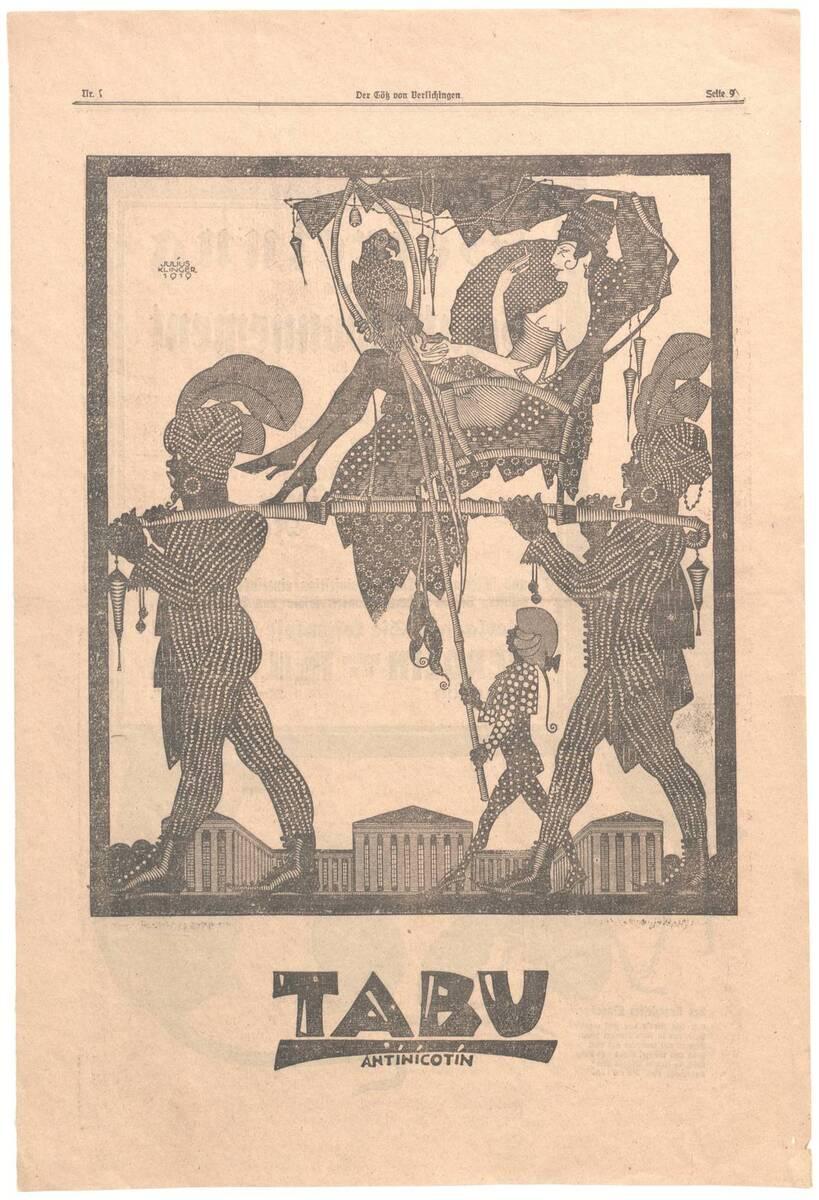 Werbeanzeige für Tabu Antinicotin von Klinger, Julius