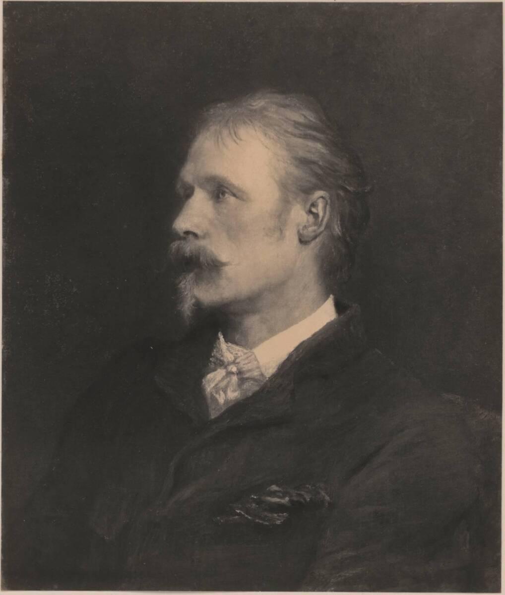 Fotografie einer Porträtmalerei des Malers Walter Crane, von George Frederick Watts (vom Bearbeiter vergebener Titel) von Anonym