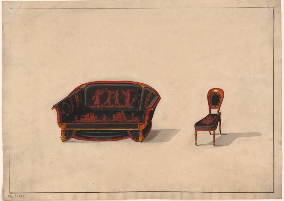 Entwurf für ein Sofa und einen Stuhl (vom Bearbeiter vergebener Titel) von Anonym