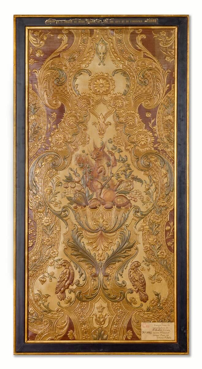 Stilkopie einer flämischen Ledertapete; Epoche Louis XIV. von Balin, Paul