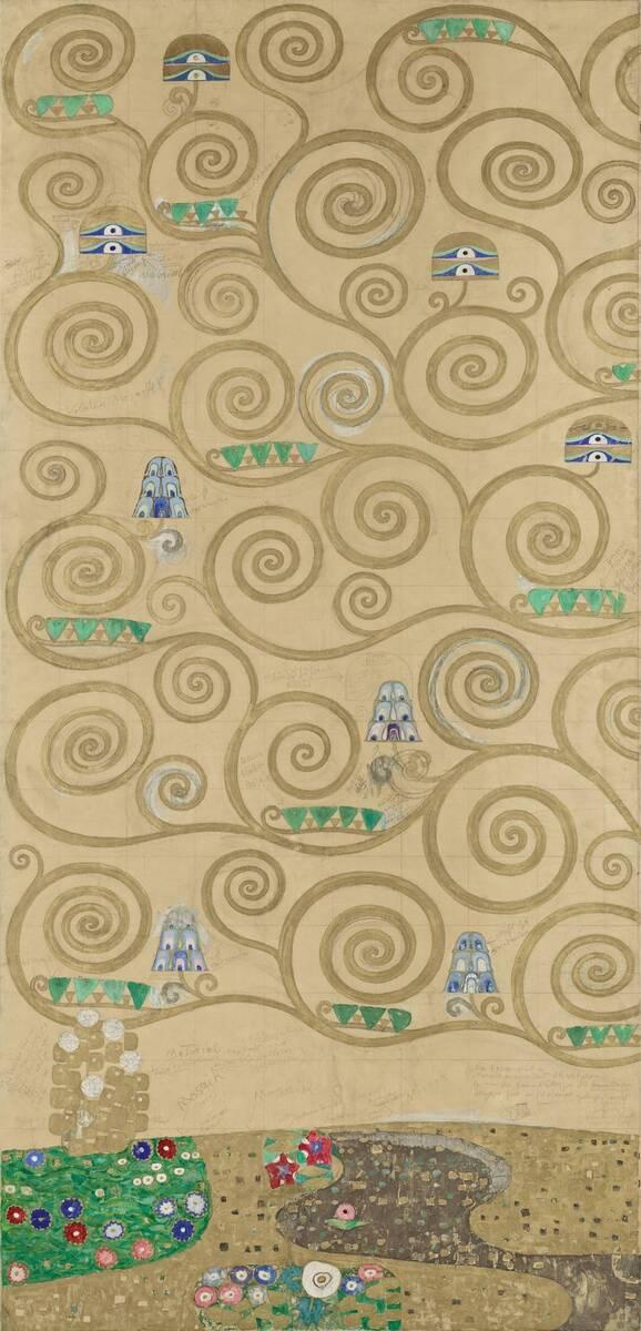 Werkzeichnung für die Ausführung eines Mosaikfries für den Speisesaal des Palais Stoclet in Brüssel: Teil 1 Teil des Lebensbaums von Klimt, Gustav
