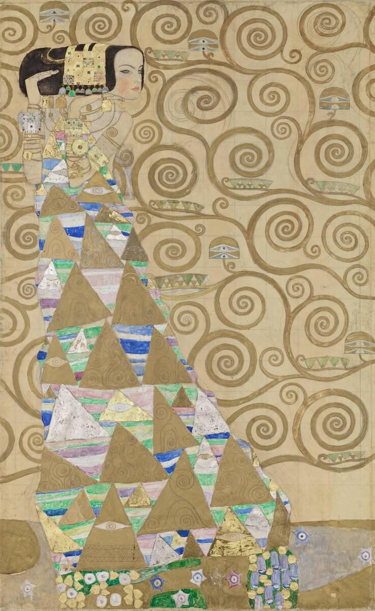 Werkzeichnung für die Ausführung eines Mosaikfries für den Speisesaal des Palais Stoclet in Brüssel: Teil 2, Die Erwartung (Tänzerin) von Klimt, Gustav