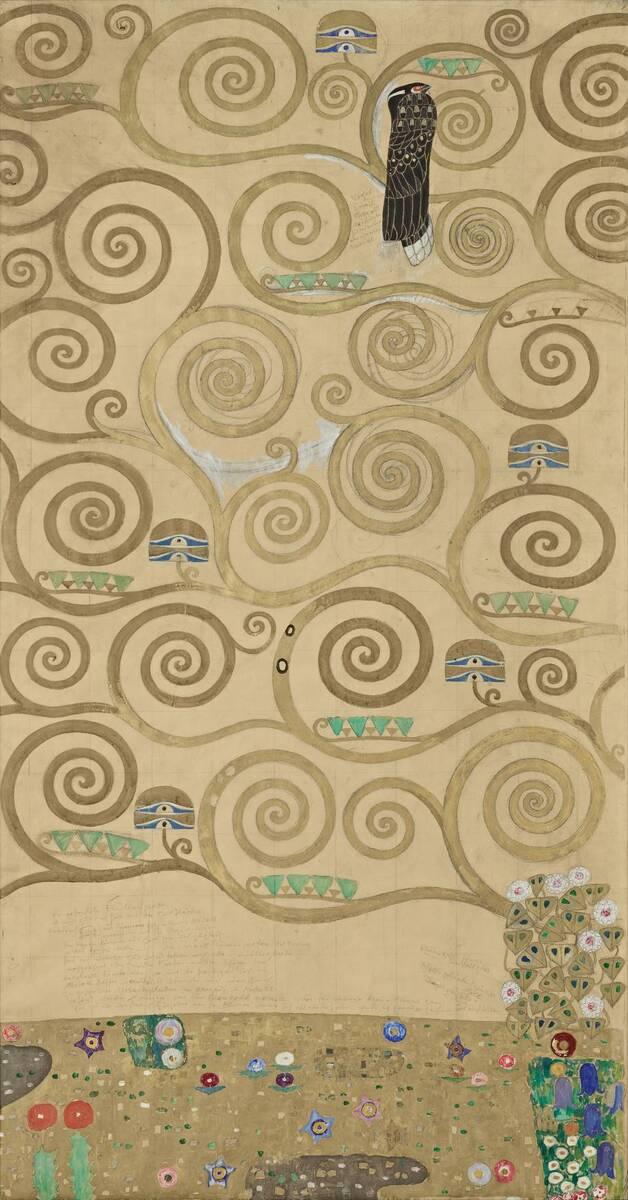 Werkzeichnung für die Ausführung eines Mosaikfries für den Speisesaal des Palais Stoclet in Brüssel: Teil 3 Teil des Lebensbaums von Klimt, Gustav
