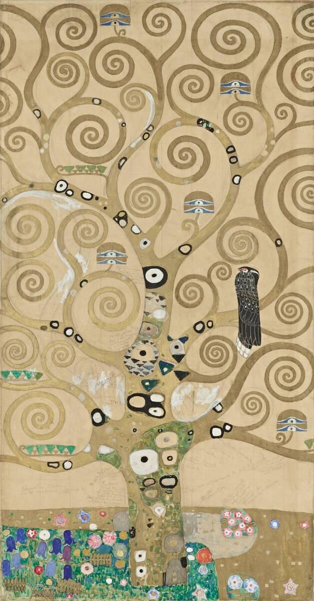 Werkzeichnung für die Ausführung eines Mosaikfries für den Speisesaal des Palais Stoclet in Brüssel: Teil 4, Lebensbaum von Klimt, Gustav