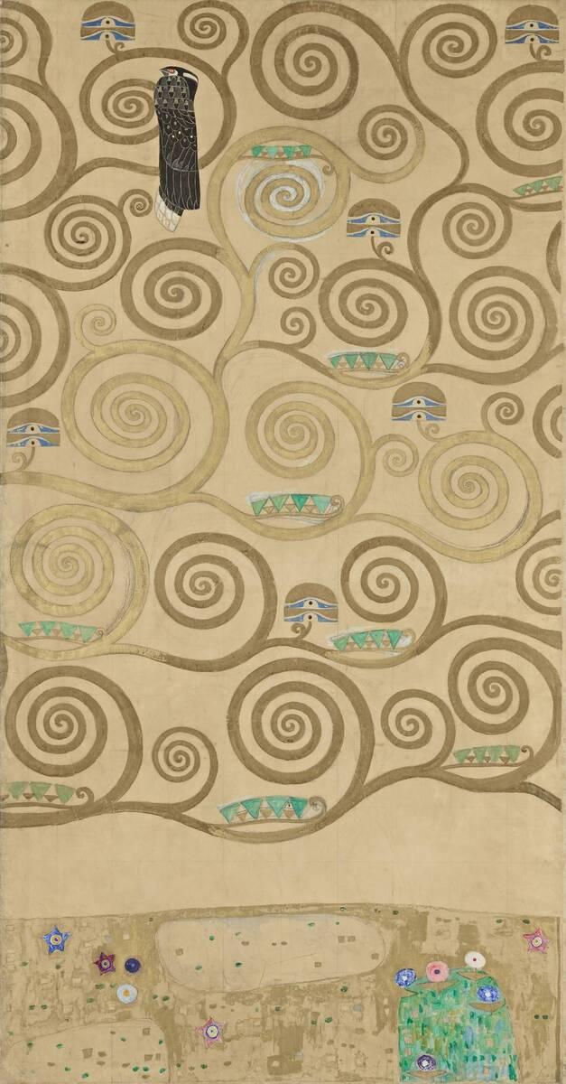 Werkzeichnung für die Ausführung für ein Mosaikfries für den Speisesaal des Palais Stoclet in Brüssel: Teil 5 Teil des Lebensbaums von Klimt, Gustav