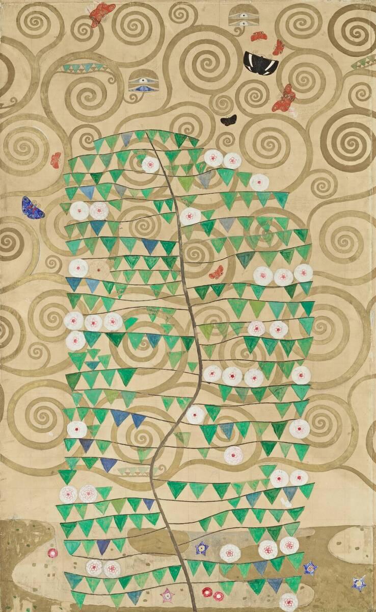 Werkzeichnung für die Ausführung eines Mosaikfries für den Speisesaal des Palais Stoclet in Brüssel: Teil 6 Rosenstrauch von Klimt, Gustav