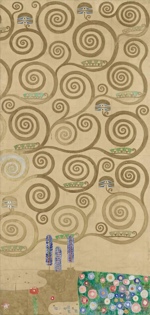 Werkzeichnung für die Ausführung eines Mosaikfries für den Speisesaal des Palais Stoclet in Brüssel: Teil 7 Teil des Lebensbaums von Klimt, Gustav