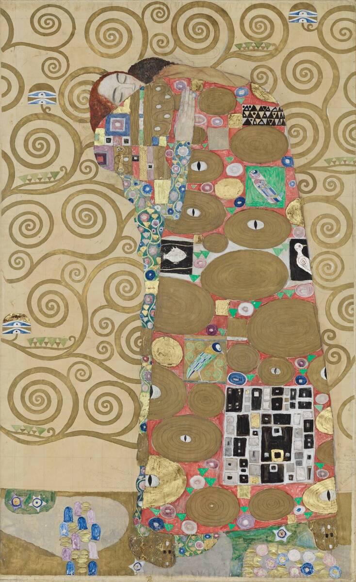 Werkzeichnung für die Ausführung eines Mosaikfries für den Speisesaal des Palais Stoclet in Brüssel: Teil 8, Erfüllung von Klimt, Gustav