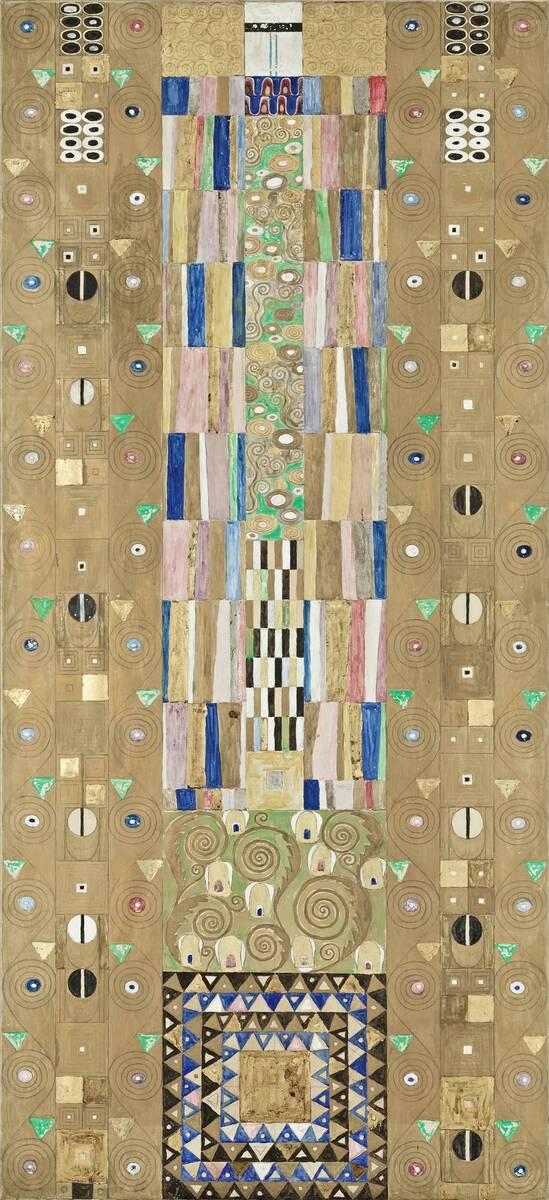 Werkzeichnung für die Ausführung eines Mosaikfries für den Speisesaal des Palais Stoclet in Brüssel: Teil 9, Ritter von Klimt, Gustav