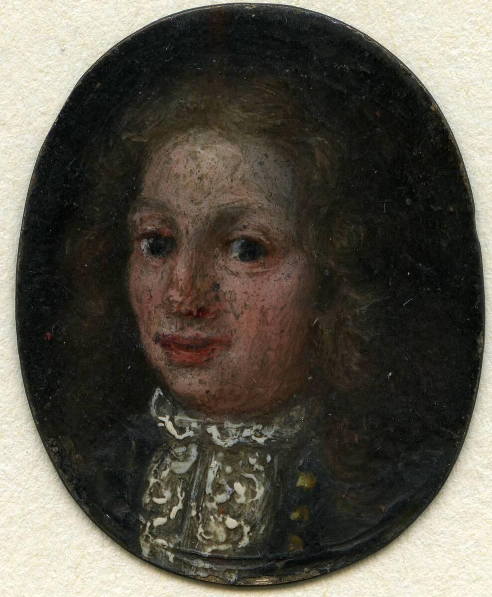 Miniaturporträt eines Mannes in blauem Rock (aus dem Inventar übernommener Titel) von Anonym