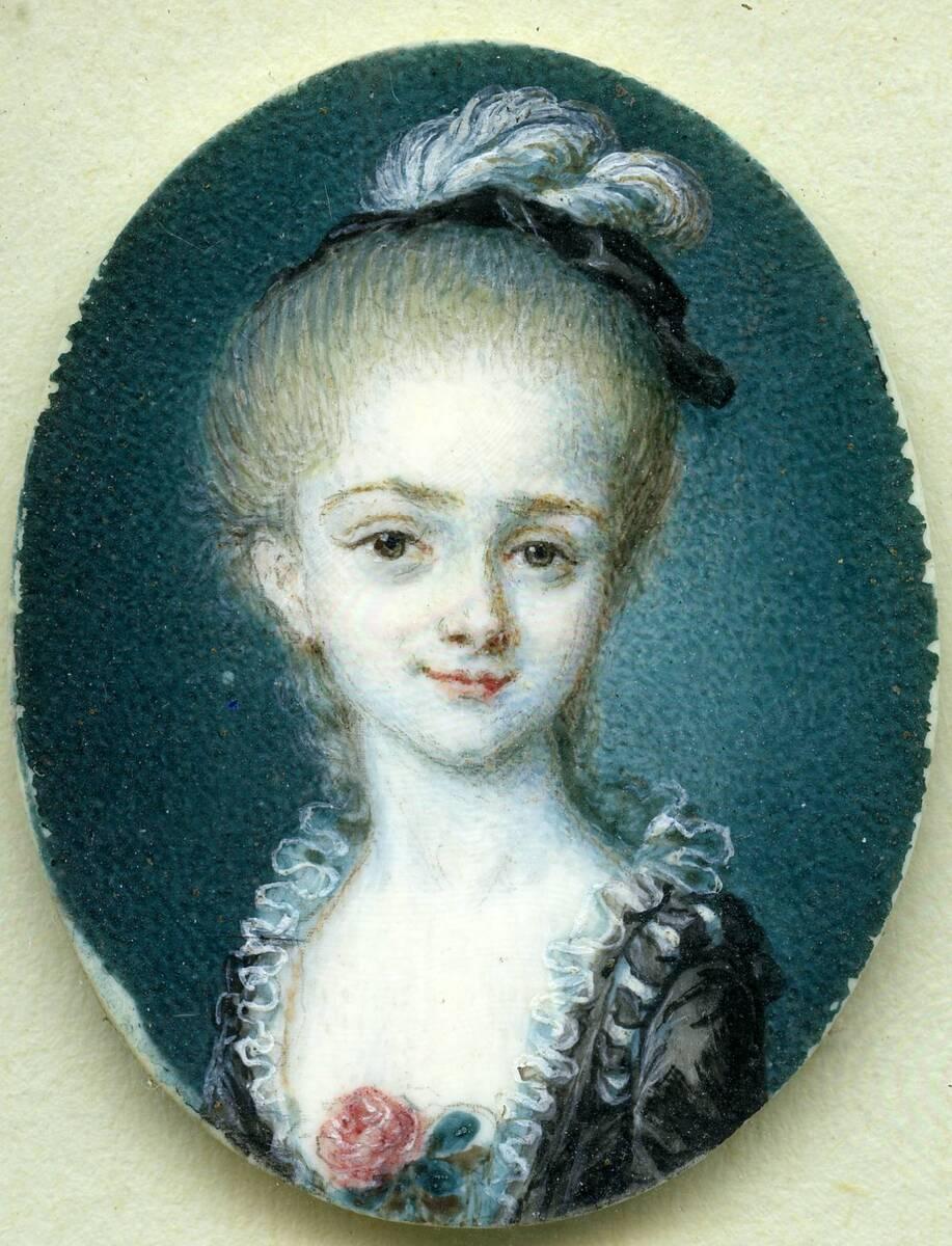 Miniaturporträt einer Dame mit Federhütchen (aus dem Inventar übernommener Titel) von Anonym