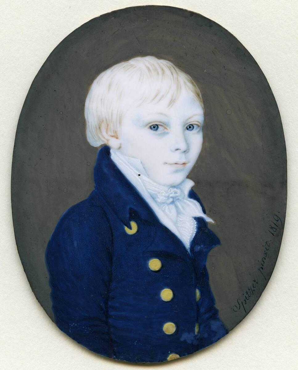 Miniaturporträt eines Knaben (aus dem Inventar übernommener Titel) von Spitzer