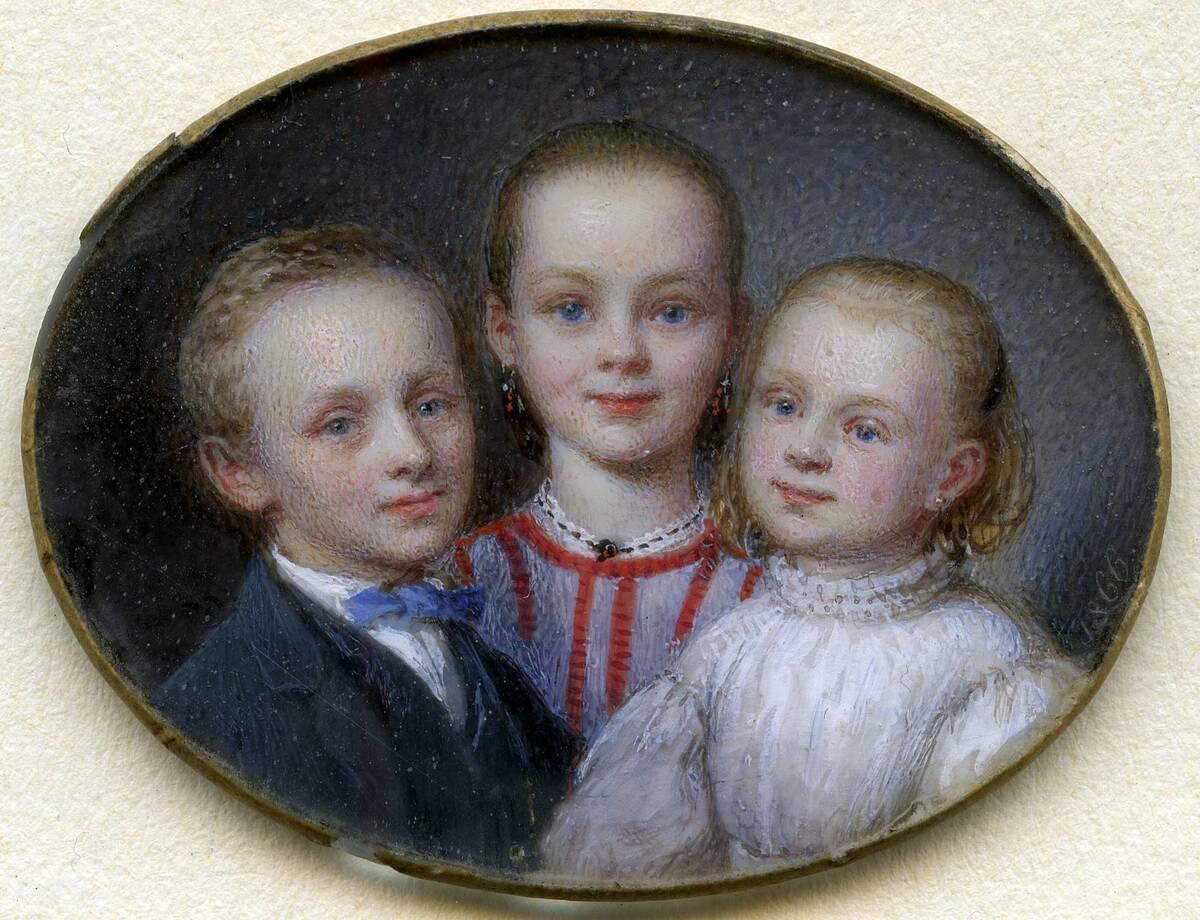 Miniaturporträt der drei Kinder des Künstlers von Friedrich, Johann Nepomuk