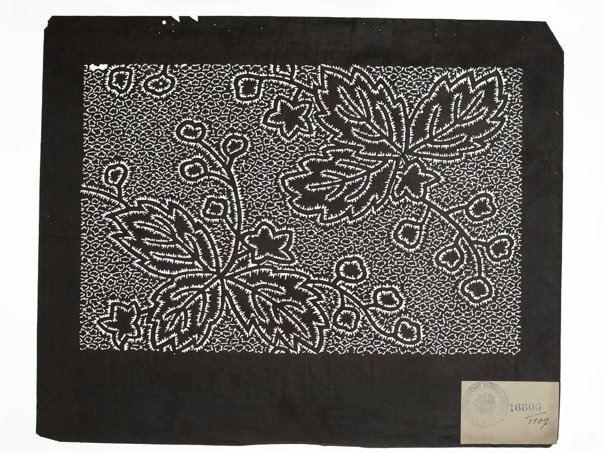 Teil eines Sets (hazure はずれ), Paulownien in Plisseebatik (orinui shibori 折り縫い絞り)-Muster auf Schnurbatik-Muster(Einzelblatt) von Anonym